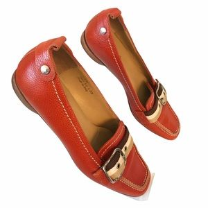 Coach P481 Lia Red orange loafers made in Italy
